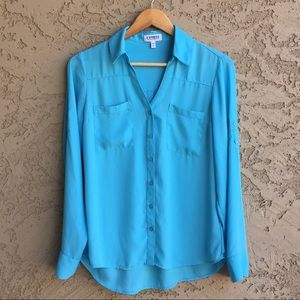 EXPRESS Blue Portofino Button Up Shirt Like New